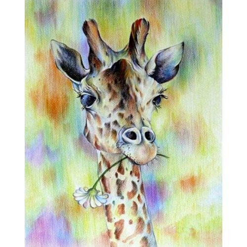 Zsiráf festés számok alapján kreatív készlet kerettel